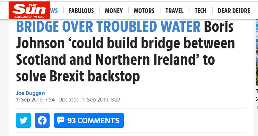 """在苏格兰和北爱尔兰间建桥,鲍里斯的""""脱欧""""新招?"""