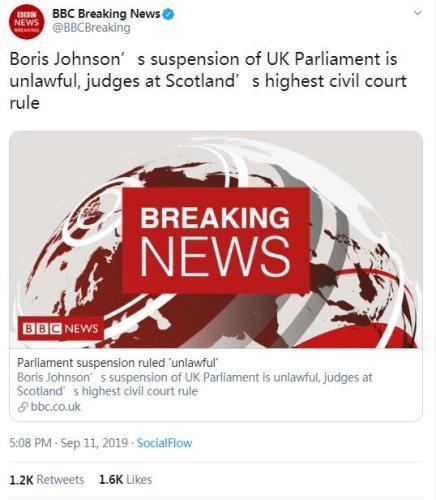 外媒:苏格兰法院裁定约翰逊实施议会休闭非法