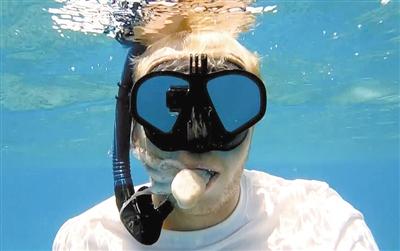 另类亲密 章鱼游入潜水者嘴中