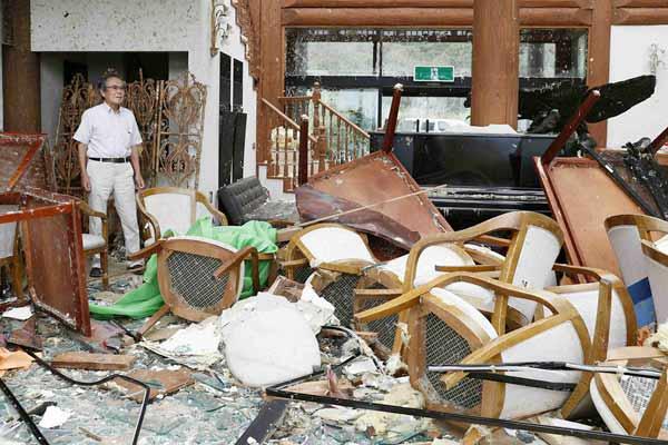 """""""法茜""""袭击后的日本千叶县 房子变成废墟"""