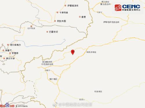 新疆阿克苏地区柯坪县发生3.1级地震 震源深度6千米
