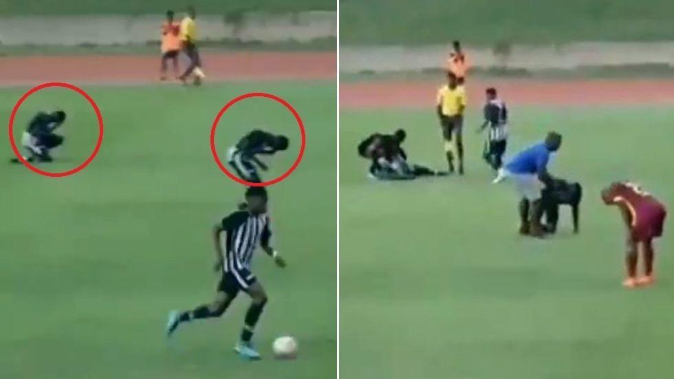 惊险!牙买加大学生足球比赛中被闪电击中