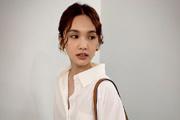 杨丞琳穿白衬衫扎麻花辫文青范十足