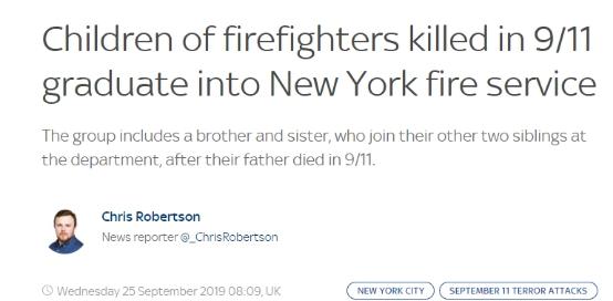 """12名见习消防员将入职纽约市消防局,他们是""""9.11""""牺牲消防员的后代"""