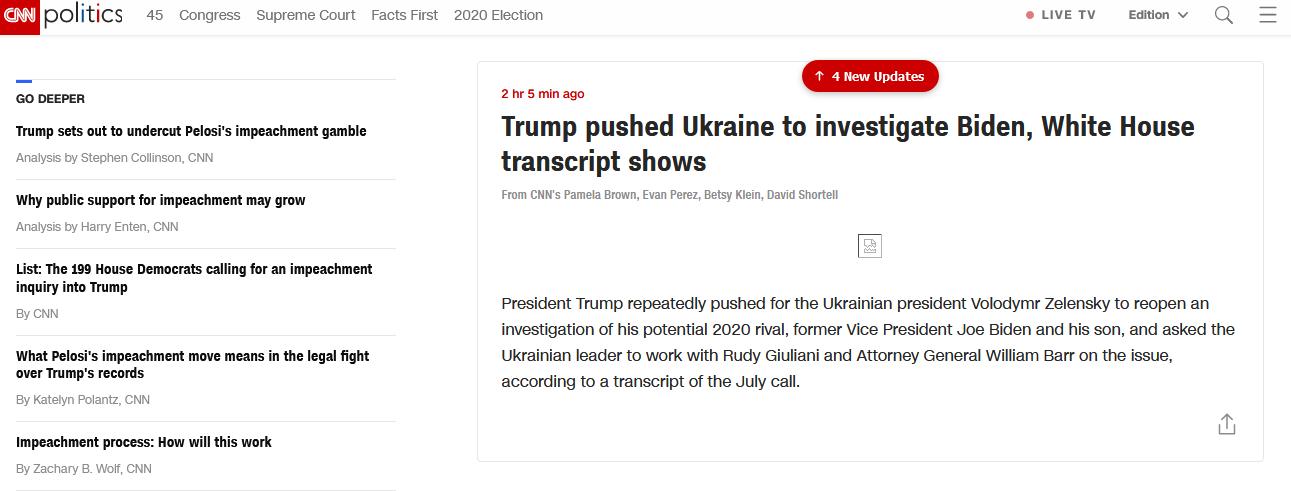白宫公布特朗普与乌总统通话记录,CNN:他还真要求乌方调查拜登父子