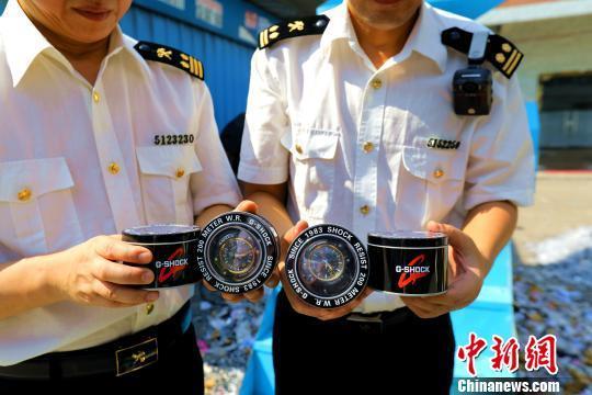 广州海关集中销毁侵权手表及配件14.6万件