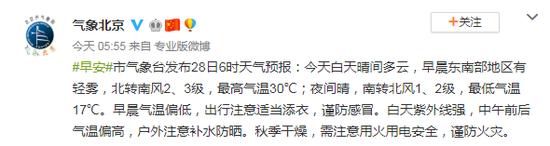 北京今天白天晴间多云 最高气温30℃