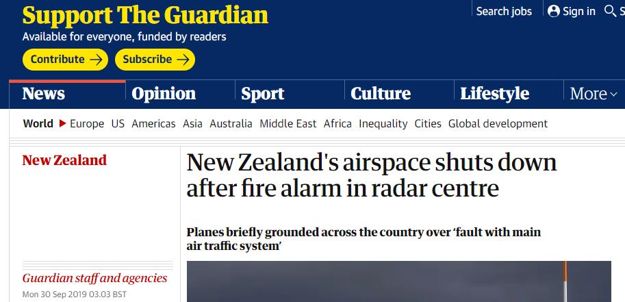 雷达控制中心响起火灾警报,致新西兰紧急关闭领空、航班原地待命