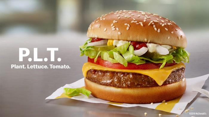 麦当劳Beyond Meat人造肉汉堡P.L.T.今天开始推出