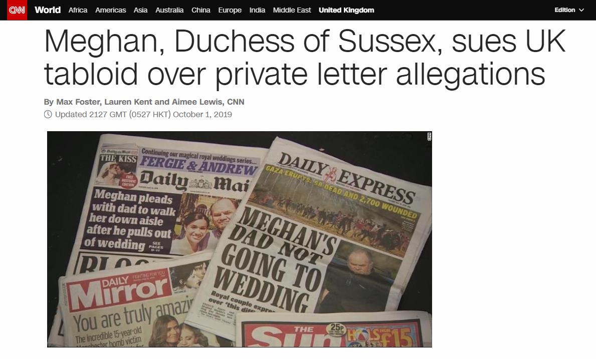 非法刊登梅根私人信件 哈里和梅根起诉英国小报