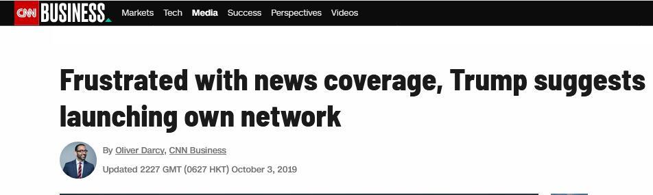 """对新闻报道失望,特朗普要建""""自己的新闻网"""":发布真新闻"""