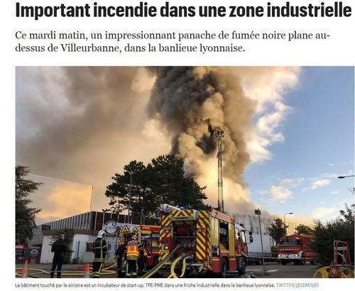 外媒:法国里昂仓库大火已得到遏制 暂无伤亡信息