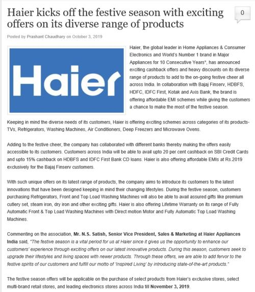 <b>在印度购物节上,中国品牌中海尔被重点报道</b>