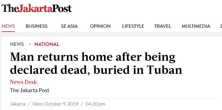 """惊悚!印尼村民在""""自己葬礼""""7小时后回家"""