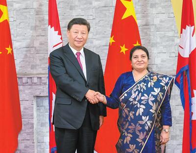 习近平会见尼泊尔总统班达里