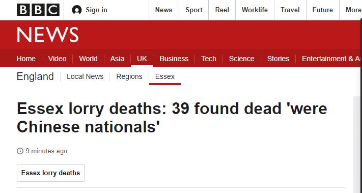 """快讯!英国媒体说货车内39具尸体""""为中国公民"""""""