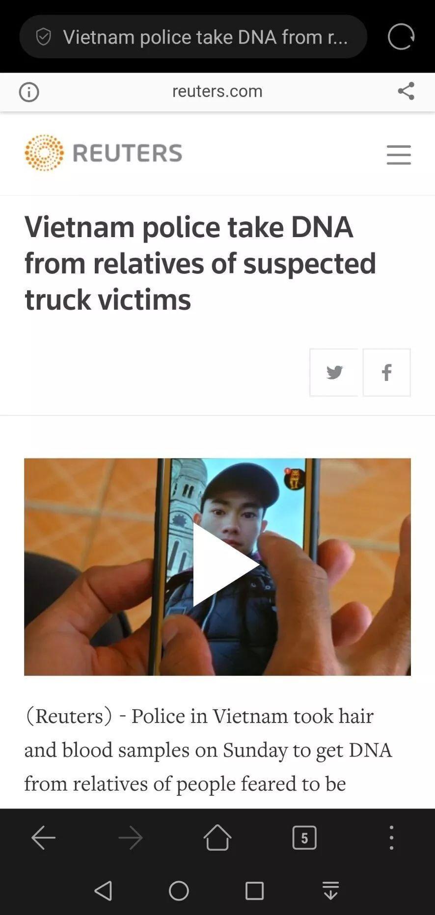 英货车事件已成越南社交网络热门,越南警方开始搜集亲属DNA样本