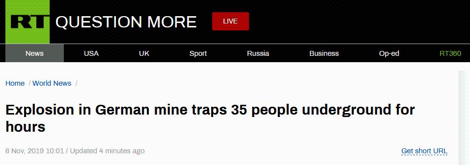 突发!德国矿井爆炸,35人困井下后获救