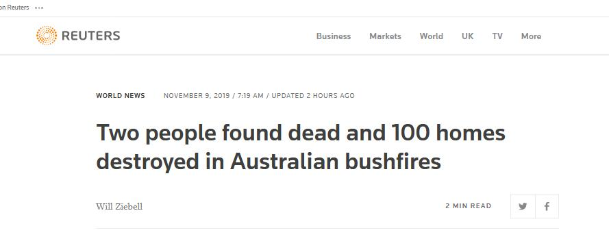 澳东部丛林火灾已致2人死亡7人失踪