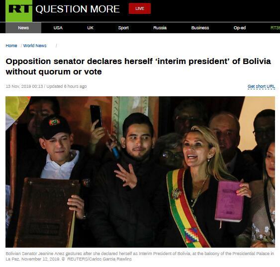 """阿涅斯宣布就任玻利维亚临时总统,前总统所在党议员""""不认"""""""