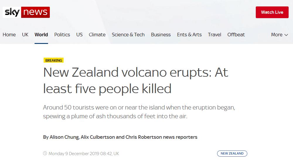 新西兰一火山爆发,警方:至少5人丧生