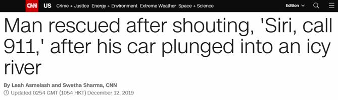 """连人带车掉湖里,遇险美国小伙喊""""Siri""""报警成功获救"""