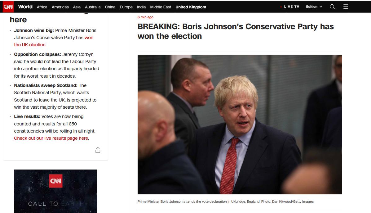 快讯!英首相约翰逊所在党派已赢得多数席位