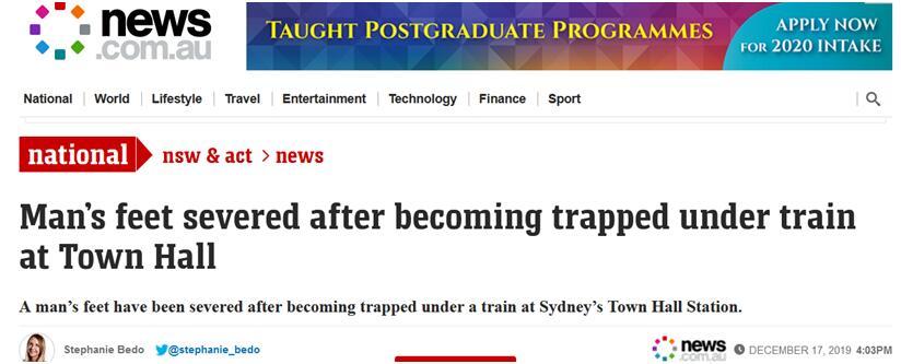 一中国男子跌入悉尼火车轨道  双脚被轧断