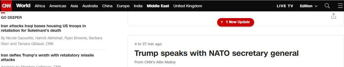 特朗普与北约秘书长通话:北约应为中东稳定作出更多贡献