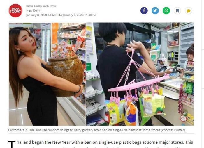 脑洞大开!禁用塑料袋后,泰国人这样购物……(图)