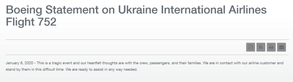 乌克兰客机在伊朗坠毁 波音出来回应了
