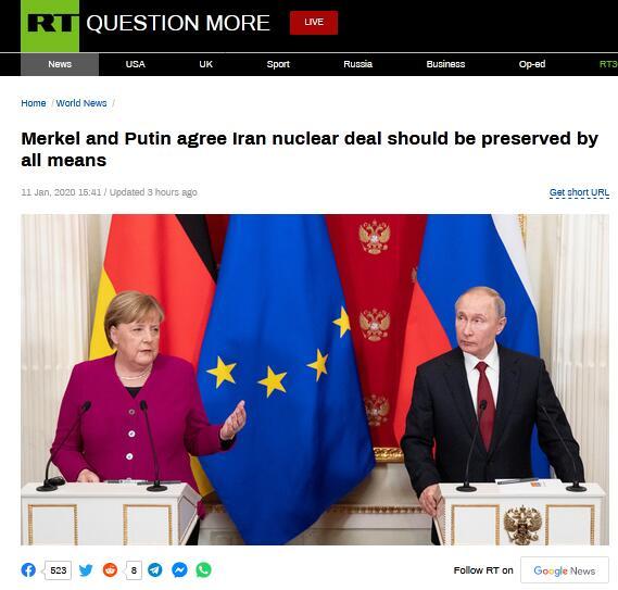 默克尔访俄,和普京达成共识:必须维护伊核协议