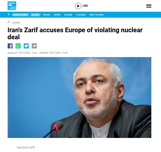 英法德启动伊核协议争端解决机制,伊朗外长批:他们还以为自己活在19世纪