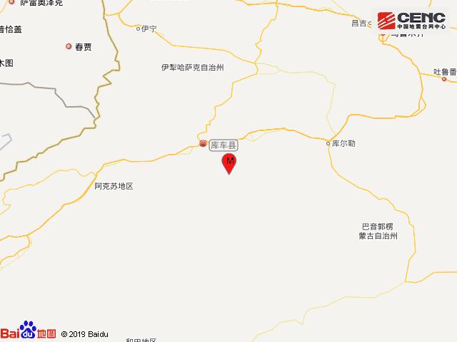新疆阿克苏地区库车县发生3.3级地震,震源深度13千米