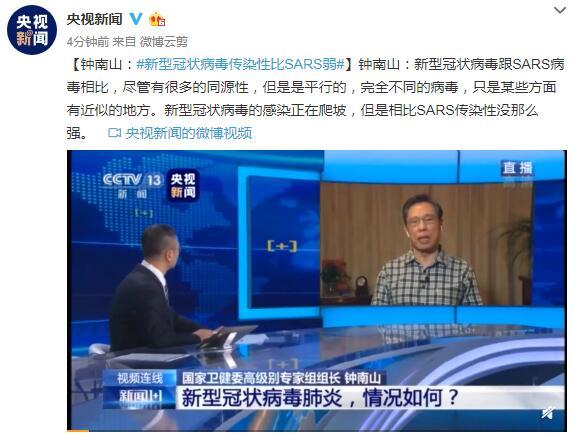 钟南山:新型冠状病毒传染性比SARS弱