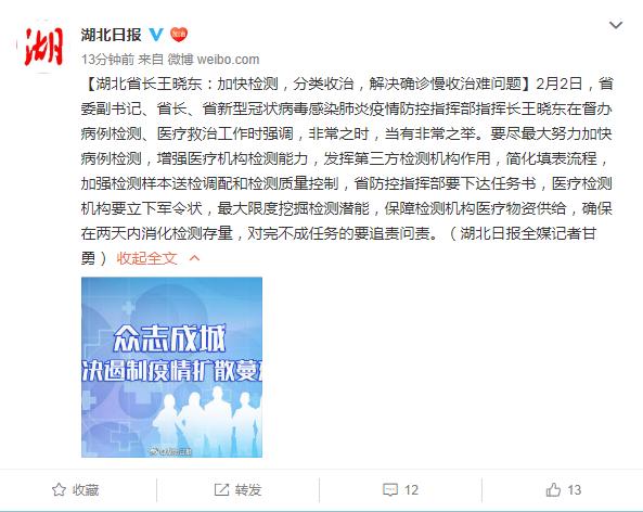 湖北省长王晓东:医疗检测机构要立下军令状 确保两天内消化检测存量
