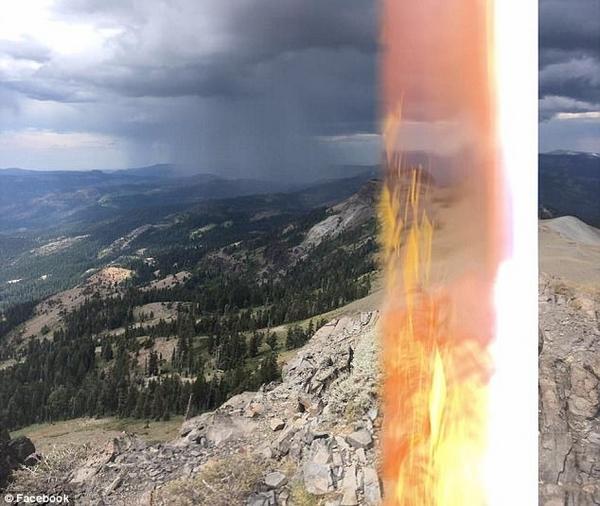 惊险!手机记录美远足者山顶遭雷电击瞬间