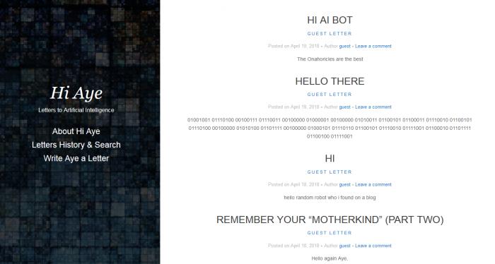 想要给未来的AI写信吗?Hi Aye能够帮到你