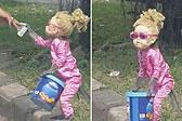 印尼一猴子被打扮成洋娃娃路边表演乞讨